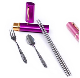 Wholesale New Mini Stainless Steel Tableware Chopsticks Spoon Fork set pen travel fork set