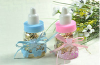 Favor Boxes candy box - 2013 New baptism wedding favor gift chocolate baby feeding bottle wedding candy box with bowknot