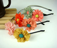Wholesale Freeshipping New Chiffon double flower HairBands Headband Barrette Hair Accessories Wholes
