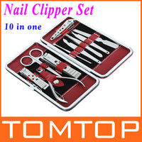 Wholesale 10 in Stainless Steel Manicure Pedicure Ear pick nail Clipper Grooming Kit Set with case H8629