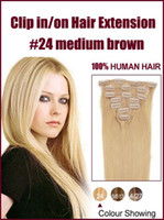Wholesale Straight quot quot set g set Remy Human Hair Clip In On Hair Extension g