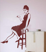Wholesale Sweet Life Audrey Hepburn cmX82cm Wall Decals Wall Stickers Art Mural Home Decor Wall Decoration Stciekr r