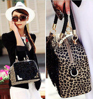 Wholesale Fashion Sexy Womens Shining Sequin Black Leopard PU Shoulder Bag Handbag