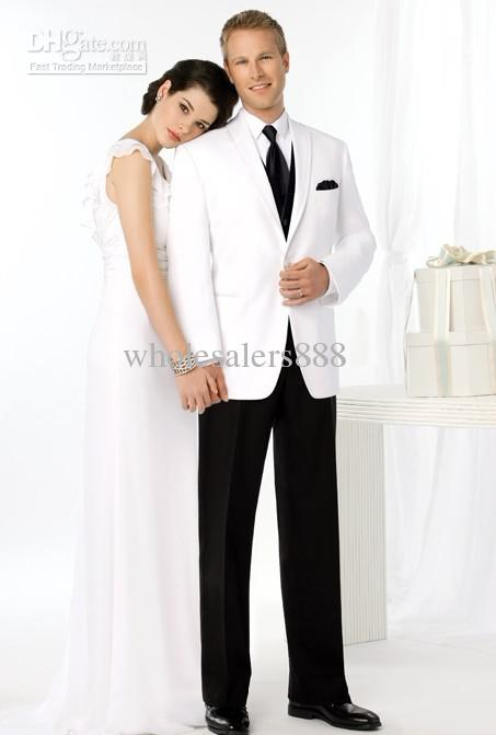 New White Jacket Black Vest And Pants Groom Tuxedos Best Man ...