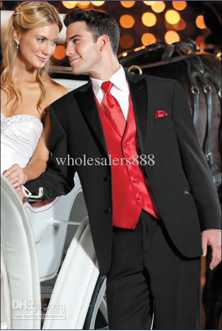 New Style Black Suit Red Vest Groom Tuxedos Best Man Peak Satin ...