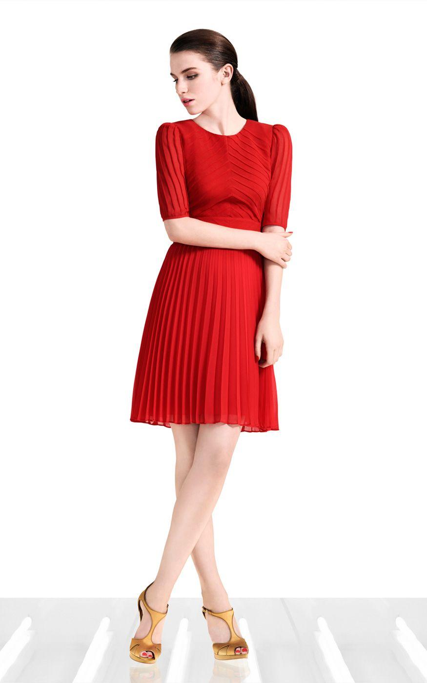 2017 Women Work Dress Fashion Dress Street Style Red Black Ruffle Knee Length Round Neck Half