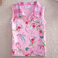 Wholesale N2693 Nova kids wear baby girls y y hot pink cotton vest overall printed floral sleeveless V neck woven check collar tank tops