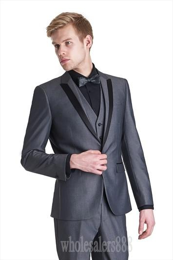 Custom Made One Button Dark Grey Groom Tuxedos Peak Lapel Best Man ...