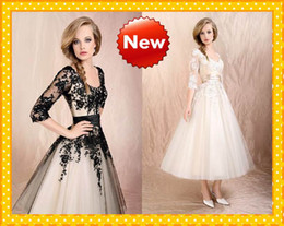 short white lace dress 3/4 sleevesBuy Ankle Length Black And White Wedding Dress Online from Low 1umTyRcZ