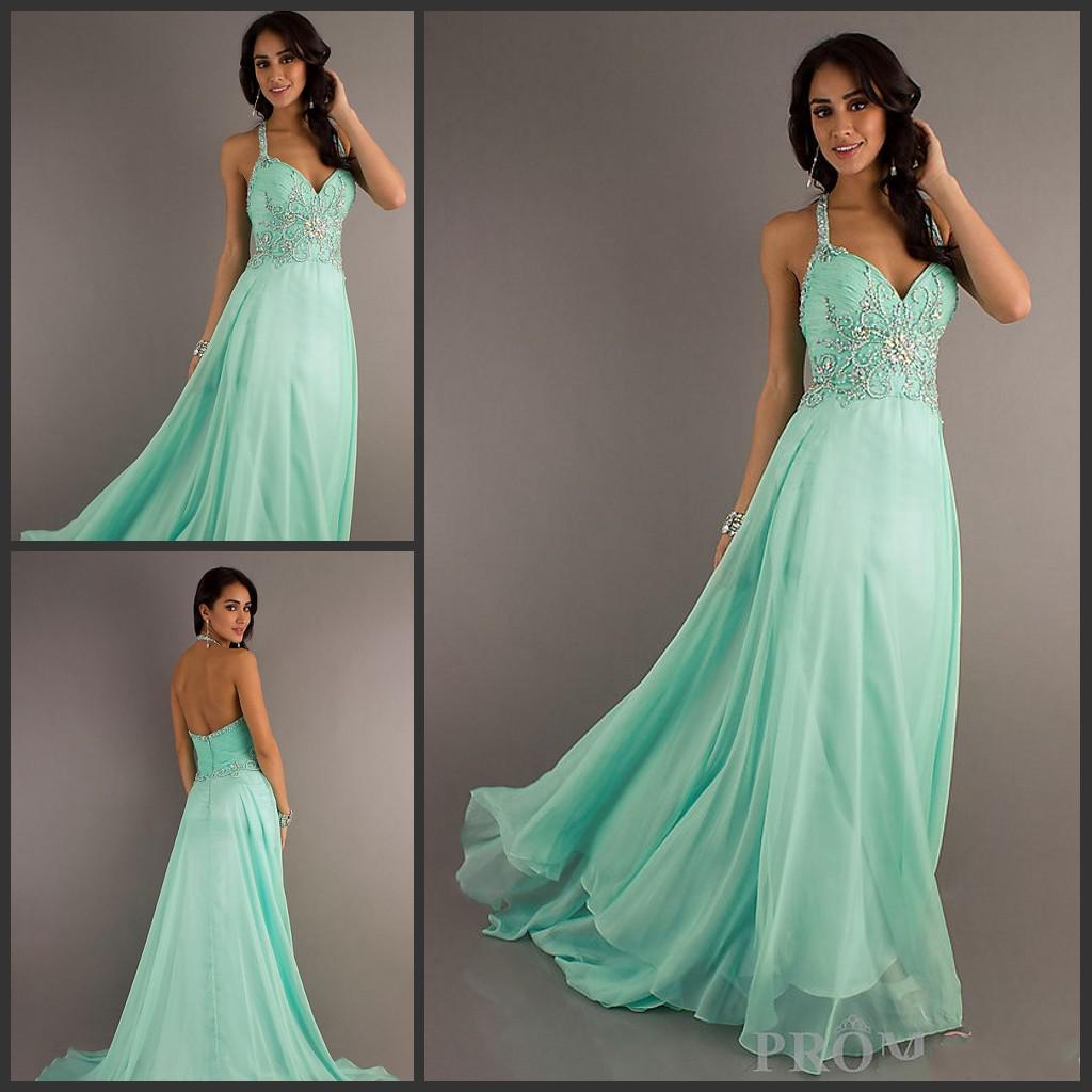 Mint Green Prom Dress 2013 Customized Elegant Hal...