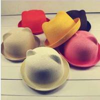 Bon Marché Bonnet cru-Les femmes Vintage Punk Mode Unique Belle Oreilles Mignon Kitty Cat Derby Bowler Hat Cap # 8111