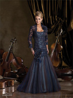 Wholesale 2016 Sexy Mermaid Evening Dresses Bridal Lace Jacket Dark Blue Mother of the Bride Dresses Mother s Dresses