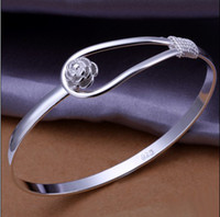 Wholesale Top quality silver charm flower bangles fashion classic jewelry women bracelet