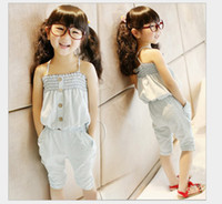 Girl 3-7 Year 100% Cotton Summer Children sets Korean new style Water to wash cowboy boob tube top gallus + 7 minute Middle pants girls Outfits Kids clothes set