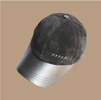 Wholesale Men s fashion sheepskin suede baseball cap casual cap adjustable genuine leather hat autumn and winter