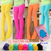 Wholesale girls fashion candy color pantyhose baby lovely velvety leggings kids popular dancing socks children high elasticity silk stockings gmy