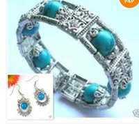Wholesale Turquoise Tibet silver bracelet Complimentary pair of earrings