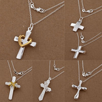 Unisex wholesale cross pendants - Fashion jewelry Silver Many Styles Different Cross Pendants Charms O Chains Necklace jewelry inch