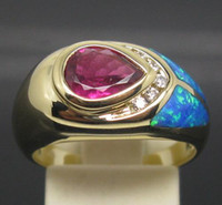 South American Women's Wedding PEAR 6*8MM SOLID 18K YELLOW GOLD SPARKLY PINK TOURMALINE DIAMOND Wedding ENGAGEMENT & OPAL RING