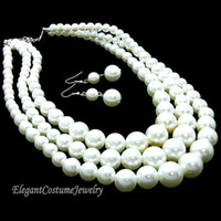Celtic best buy sets - best buy fine pearl jewelry Natural Strand White Pearls Necklace Earring Set Chunky Elegant Costume Pearl Jewelry