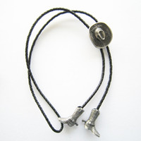 Unisex western cowboy boots - Retail Bolo Tie New Silver Plating Cowboy Boots Cap Western Bolo Tie BOLOTIE SL Factory Direct In Stock