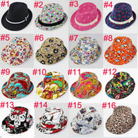 Wholesale Various Styles Children Fedora Hat Fashion Baby Hat Kids Jazz Cap Infant Cowboy Hat Fedoras Headwear FH010