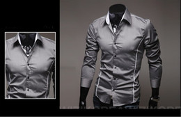 Wholesale Men s Long Sleeve Shirts Cotton Lapel Mens Shirt Slim Dress Shirts For Men Business Shirts grey