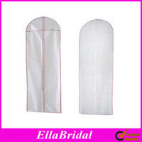 Wholesale White with Pink Trim No Logo Cheap Wedding Dress Bag Garment Cover Travel Storage Dust Covers Bridal Accessories Custom Made