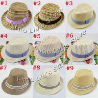 Wholesale High Quality Children Hat Fedoras Baby Summer Sun Cap Kids Fedora Hat Boys Girls Straw Jazz Cap FH009