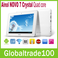 Wholesale 7 inch Android Tablet PC Ainol NOVO Crystal Quad core Ghz GB RAM GB HD HDMI WIFI Webcam One year Warranty Free DHL