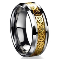 mens gold ring - DragonTungsten Carbide Celtic Ring Mens Jewelry Tungsten Carbide Ring Men Wedding Band Gold New Size