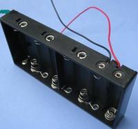 Wholesale x AA UM3 Battery holder case box plastic black V w lead