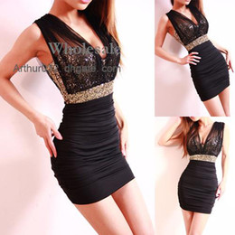 Wholesale Xmas Gift Sexy Low Cut Gold Sequin Tulle Backless Close Fitting Clubbing Mini Dress