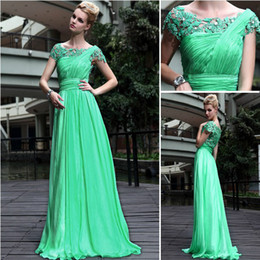 2016 New Beautiful Charming Green A-line Lace Formal Evening Dresses Cap Sleeves Pleats Beads Long Party Gowns Floor length