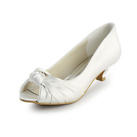 Wholesale Gorgeous Satin Up New Peep Toe Low Heel Fashion White Ivory Wedding Party Bridal Shoes