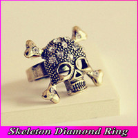 Wholesale Punk Skull Ring Opening Diamond Gold Skeleton Rings For Women Mens Skull Rings Jewelry JZ078