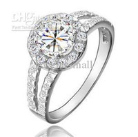 Wholesale pc Hi Q KGDP S925 Engagement Wedding Ring Brilliant Shining mm Switzerland Diamond