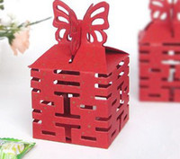 Wholesale wedding favors Butterfly Double Happiness Wedding Candy Boxes Chinese Double Happiness sophisticated gift box