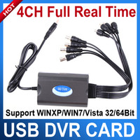 Wholesale 4 Channel USB DVR Video amp Audio Real time Network CCTV Capture Card FP Win7