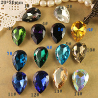 Wholesale 12pcs mm teardrop Pear glass crystal beads faceted point back stone U choose color free shi