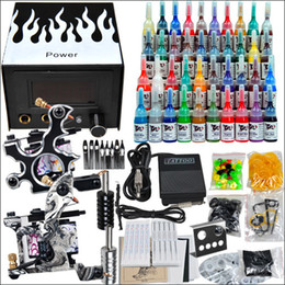 Wholesale Professional complete cheap tattoo kits guns machines ink sets equipment needles grips tubes power D238