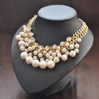 Wholesale Jewelry Popular Necklace White Pearl Necklace Gold Plated Pearl and Rhinestone Crystal Bridal Necklace Multi Strands Necklace Wedding Gift