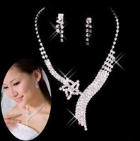 Wholesale new style Brilliant Wedding jewelry Bridal Rhinestone crystal Star decoration Necklace earring set pieces ladies sexy jewelry t5102