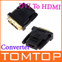 Wholesale 10pcs Gold Plated DVI Male To HDMI Female Adapter Converter C850