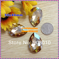 Rhinestones Rhinestones gold champagne 30pcs 30x40mm teardrop Fancy Stone Gold Champagne Color droplet pointback crystal for Jewelry Making