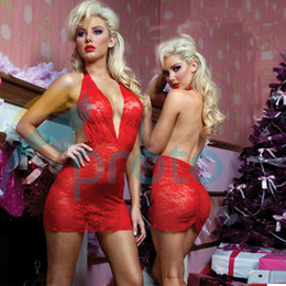 Wholesale Fashion Red Lady Sexy Lingerie Low Cut Backless Lace Dresses Women Nightwear Chemise