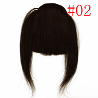 Wholesale Popular Clip in Front Inclined Bang Fringe Human Hair Extensions black blond brown clip bangs