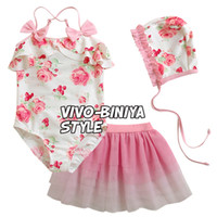 Wholesale NEW kids Swimwear girls s girl children baby skirts tulle floral bow Suits have hats Swimsuit set sets