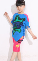 Wholesale 2013 Summer Girls Blue Sets Casual Tracksuit Children Star Print Irregular Shirt Lips Pants Outfits Girls Clothing EMS