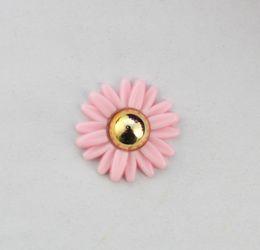 15PCS Pink Golden Daisy flower flatback cabochon DIY accessory #22822